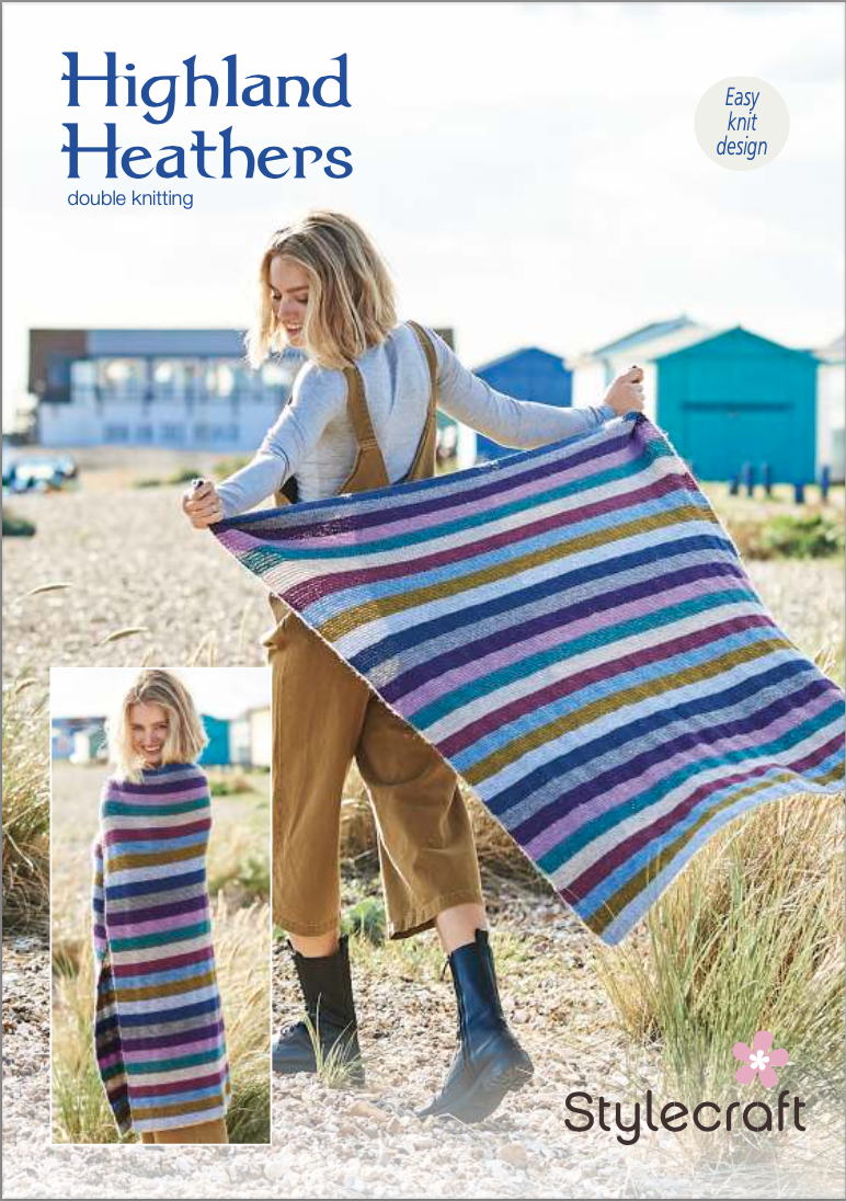 Stylecraft Highland Heathers DK Knitted Blanket Pattern (free download) product image