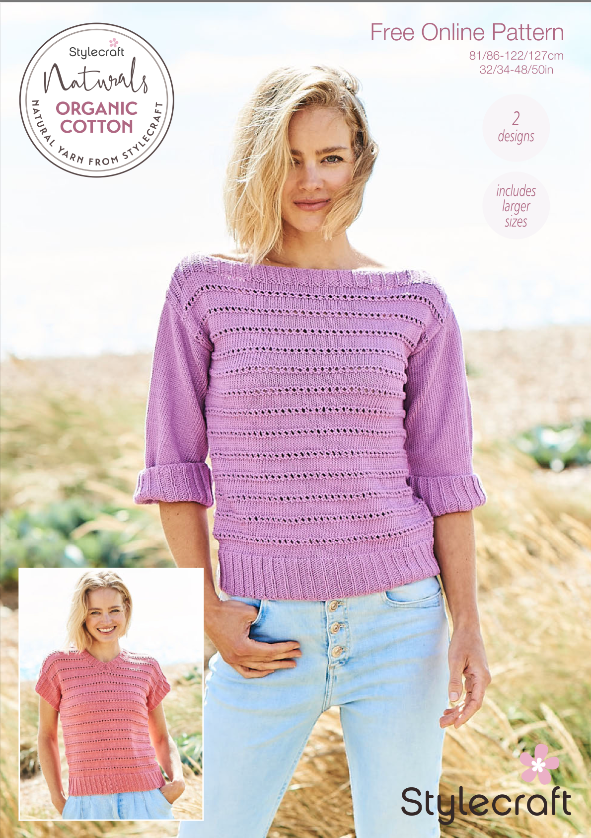 Stylecraft Naturals Organic Cotton Knitted Jumper Pattern F091 (free download) product image